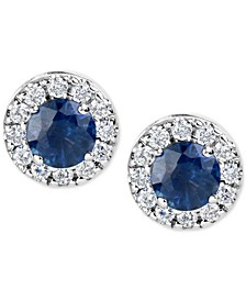Sapphire (1-1/5 ct. t.w.) and Diamond (1/3 ct. t.w.) Halo Stud Earrings in 14k White Gold (Also Available in Emerald and Certified Ruby)