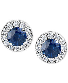 Sapphire (1-1/5 ct. t.w.) and Diamond (1/3 ct. t.w.) Halo Stud Earrings in 14k White Gold