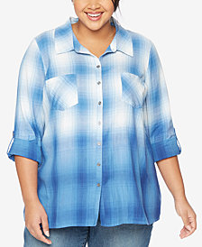 Wendy Bellissimo Maternity Plus Size Plaid Shirt