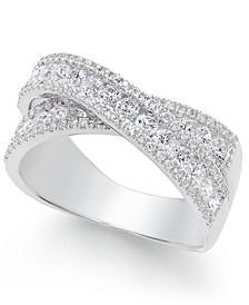 Arabella Swarovski Zirconia Crisscross Statement Ring in Sterling Silver