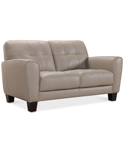 Kaleb 61 Tufted Leather Loveseat Created For Macy 39 S Furniture Macy 39 S