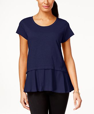 Style & Co Layered-Look Peplum T-Shirt, Created for Macy's