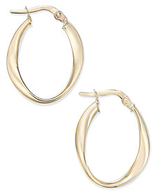 Twisted Oval Hoop Earrings in 10k Gold
