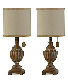 StyleCraft Set of 2 Traditional Kerala Finish Mini Table Lamps