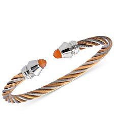 CHARRIOL Women's Fabulous Orange Moonstone Two-Tone PVD Stainless Steel Cable Bangle Bracelet