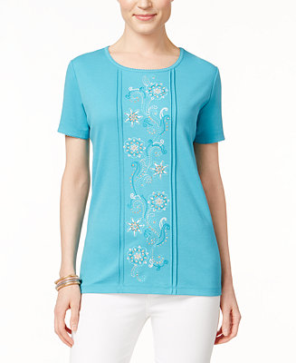 Alfred dunner floral embroidered short sleeve top tops for Alfred dunner wedding dresses