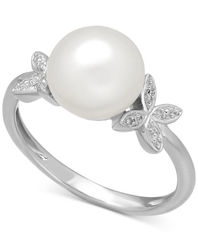 Cultured Freshwater Pearl (9mm) and Diamond Accent Butterfly Ring in Sterling Silver