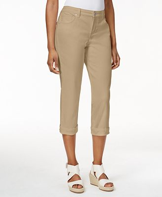 Style & Co Petite Tummy-Control Cuffed Capri Jeans - Jeans ...