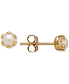 Children's Cultured Freshwater Pearl (3-1/2mm) Small Stud Earrings in 14k Gold