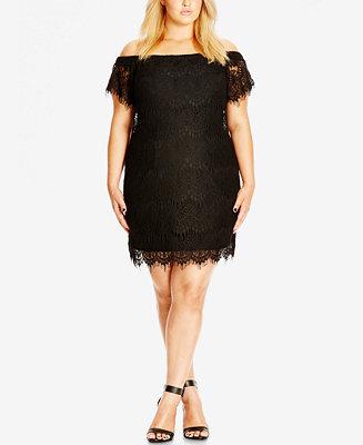 City Chic Trendy Plus Size Off The Shoulder Lace Dress