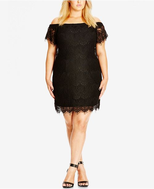 City Chic Trendy Plus Size Off Shoulder Lace Dress & Reviews - Women ...