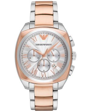 Emporio Armani Men's Chronograph Gamma Two-Tone Stainless Steel Bracelet Watch 44mm AR1937 thumbnail