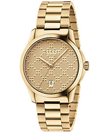 Gucci Unisex Swiss G-Timeless Gold-Tone PVD Stainless Steel Bracelet Watch 38mm YA126461