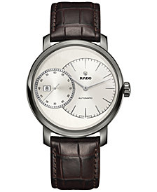 Rado Men's Swiss Automatic Chronograph DiaMaster Grande Seconde Brown Leather Strap Watch 43mm R14129106