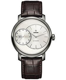 Rado Men's Swiss Automatic Chronograph DiaMaster Grande Seconde Brown Leather Strap Watch 43mm R14129106