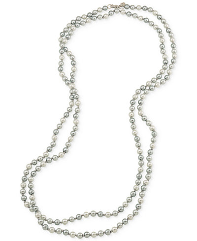 Carolee Silver-Tone Gray Imitation Pearl Long Length Necklace