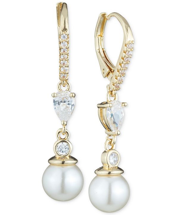 Anne Klein Imitation Pearl and Crystal Drop Earrings