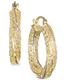 Two-Tone 3D-Printed Filigree Hoop Earrings in 10k Gold