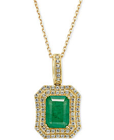 Emerald (1-1/2 ct. t.w.) and White Sapphire (1 ct. t.w.) Rectangular Pendant Necklace in 14k Gold