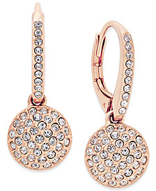Danori Rose Gold-Tone Pavé Disc Drop Earrings, Created for Macy's