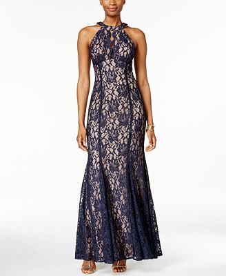 Nightway Lace Keyhole Halter Gown Dresses Women Macys