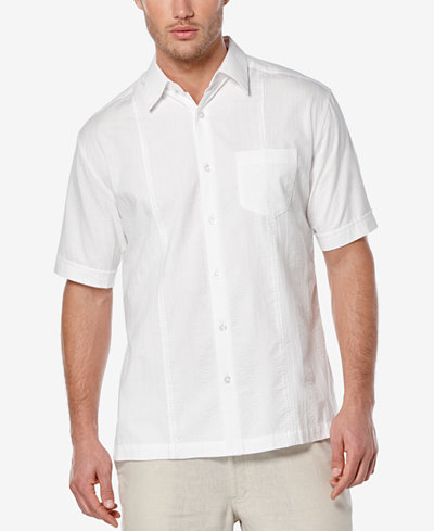 Cubavera men 39 s seersucker embroidered short sleeve shirt for Mens short sleeve seersucker shirts