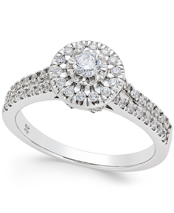 Macy's Diamond Halo Engagement Ring (1/2 ct. t.w.) in 14k White Gold