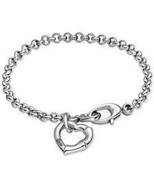 Gucci Women's Sterling Silver Heart Charm Bracelet YBA390138001017