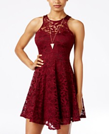 Material Girl Juniors' Lace Skater Dress, Created for Macy's