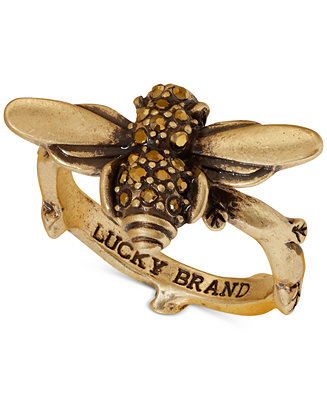 Lucky brand gold tone bee statement ring jewelry for Macy s lucky brand jewelry
