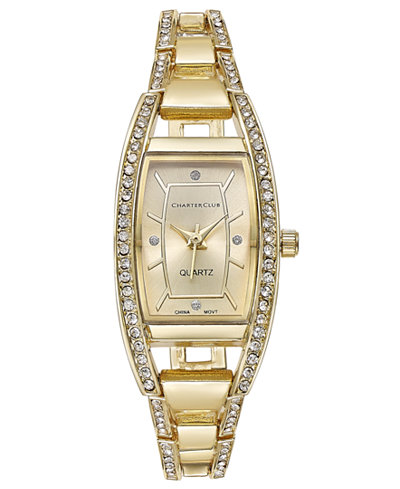 Charter Club Women's Gold-Tone Square Link Bracelet Watch 20mm, Only at Macy's