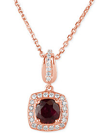 Ruby (3/4 ct. t.w.) and Diamond (1/5 ct. t.w.) Square Drop Pendant Necklace in 14k Rose Gold
