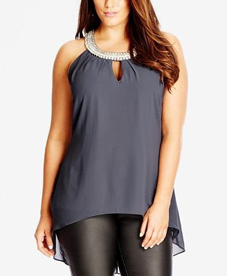 city chic plus size beaded high low necklace top tops