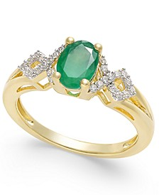 Emerald (5/8 ct. t.w.) and Diamond (1/8 ct. t.w.) Ring in 14k Gold(Also Available in Certified Ruby & Sapphire)