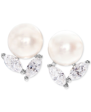 Cultured Freshwater Pearl (8mm) and Cubic Zirconia Stud Earrings in Sterling Silver