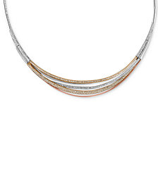 Trio by EFFY Diamond Pavé Collar Necklace (1-1/3 ct. t.w.) in 14k White, Yellow and Rose Gold
