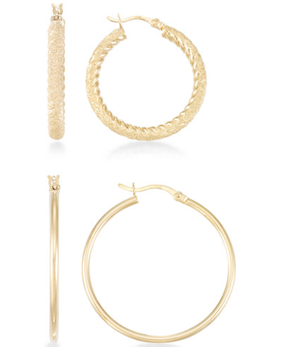 2-Pc. Set Textured and Polished Hoop Earrings in 14k Gold Over Sterling Silver