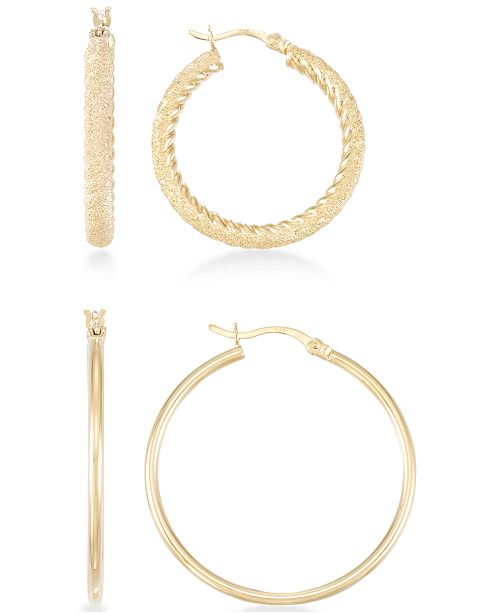 Macy's 2-Pc. Set Textured and Polished Hoop Earrings in 14k Gold Over Sterling Silver