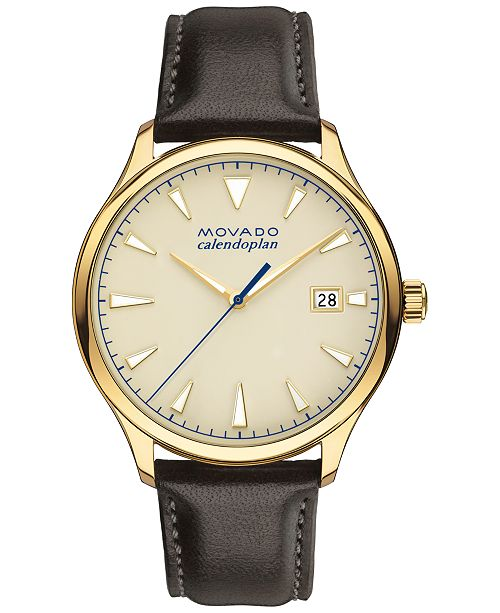 Movado Men's Swiss Heritage Series Calendoplan Chocolate Brown Leather Strap Watch 40mm 3650003