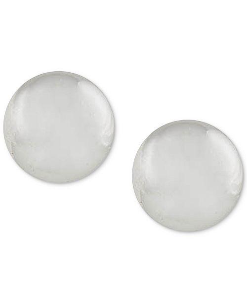 Lauren Ralph Lauren Silver-Tone Round Button Stud Earrings