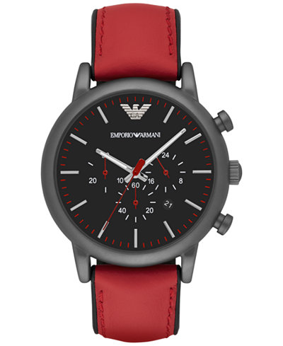 emporio armani men 39 s chronograph luigi red leather strap. Black Bedroom Furniture Sets. Home Design Ideas
