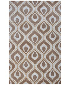 CLOSEOUT! Bob Mackie Home 1020 Beige Eye of the Peacock 5' x 8' Area Rug
