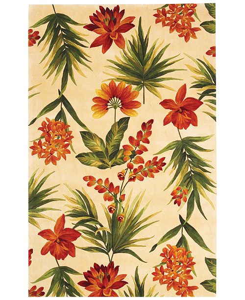 "Kas Catalina 780 Ivory Tropical Flora 2'6"" x 8' Runner Rug"