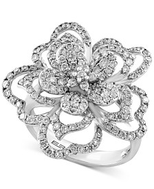 EFFY Diamond Flower Ring (1-1/3 ct. t.w.) in 14k White Gold