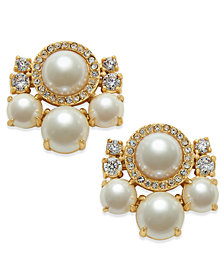 kate spade new york Rose Gold-Tone Imitation Pearl and Crystal Cluster Earrings