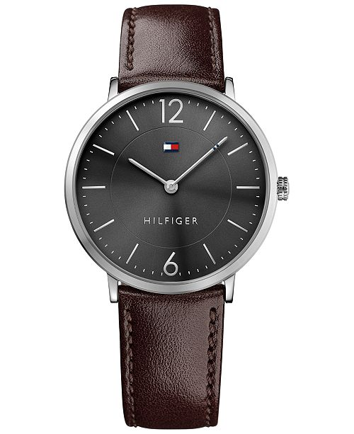 fbcaf529 ... Tommy Hilfiger Men's Slim Sophisticated Sport Brown Leather Strap Watch  40mm 1710352 ...