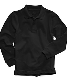 Long-Sleeve School Uniform Polo, Little Boys