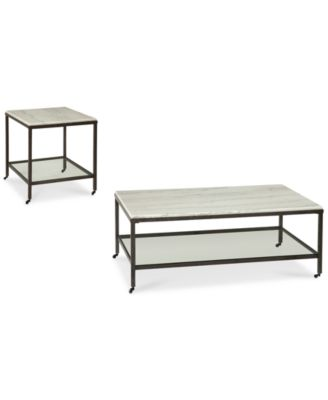 stratus rectangle 2pc set coffee table u0026 end table only - Macys Coffee Table