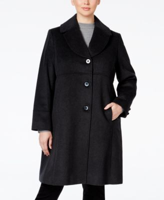 Jones New York Plus Size Empire-Waist Wool-Blend Walker Coat