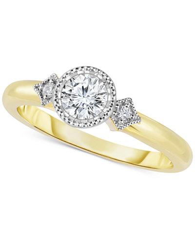 Diamond Bezel-Set Engagement Ring (1/2 ct. t.w.) in 14k Gold